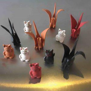 cat-trochu-ceramic-rennes-bretagne-patiau-origami-manekineko 1
